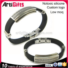 Popular mens hand silicone bracelets with metal clasp