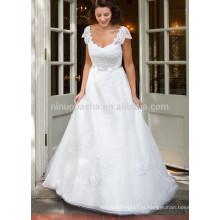 NA1018 Modest A-line Scoop Appliqued Vestido de noiva de organza de renda com mangas curtas Vestidos de noiva 2015