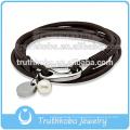 Bracelet en cuir en gros Bracelet acier inoxydable argent vert foncé fermoir de homard personnalisé Bracelet en cuir tressé Bracelets pour hommes