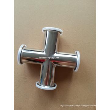 Sanitary aço inoxidável fixado 4-Way Cross Pipe Fitting