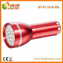Fuente de la fábrica Buena calidad El precio barato 28 llevó la luz de aluminio pequeña de la antorcha con la batería 3AAA