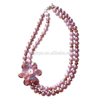Mode Bling Crystal Pearl Flower Aussage Halskette
