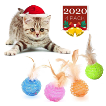 Brinquedos de bola de gato com pena