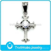 Design de fábrica com CZ Pedra Cruz Cristã Cruz De Aço Inoxidável Pingente de Alta Qualidade Cristo Pingente Religioso