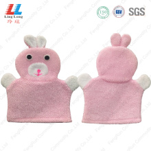 Rabbit microfiber animal bath gloves