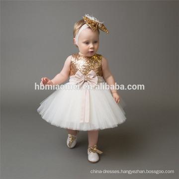 2017 new arrival hot sell summer baby girl dress sleeveless white color puffy sequin flower girl dress wholesale with big bow