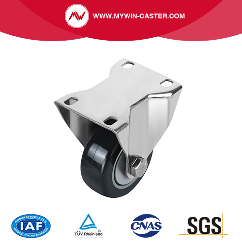Plate Rigid PU Stainless Steel Caster