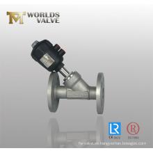 Válvula de globo angular con conexión de brida