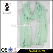 light blue scarve fashion 100 polyester scarf with pompon tassel all around