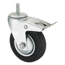 Middle Duty Series Caster - Threaded W/ Brake - Black Industrial Rubber (roller bearing)