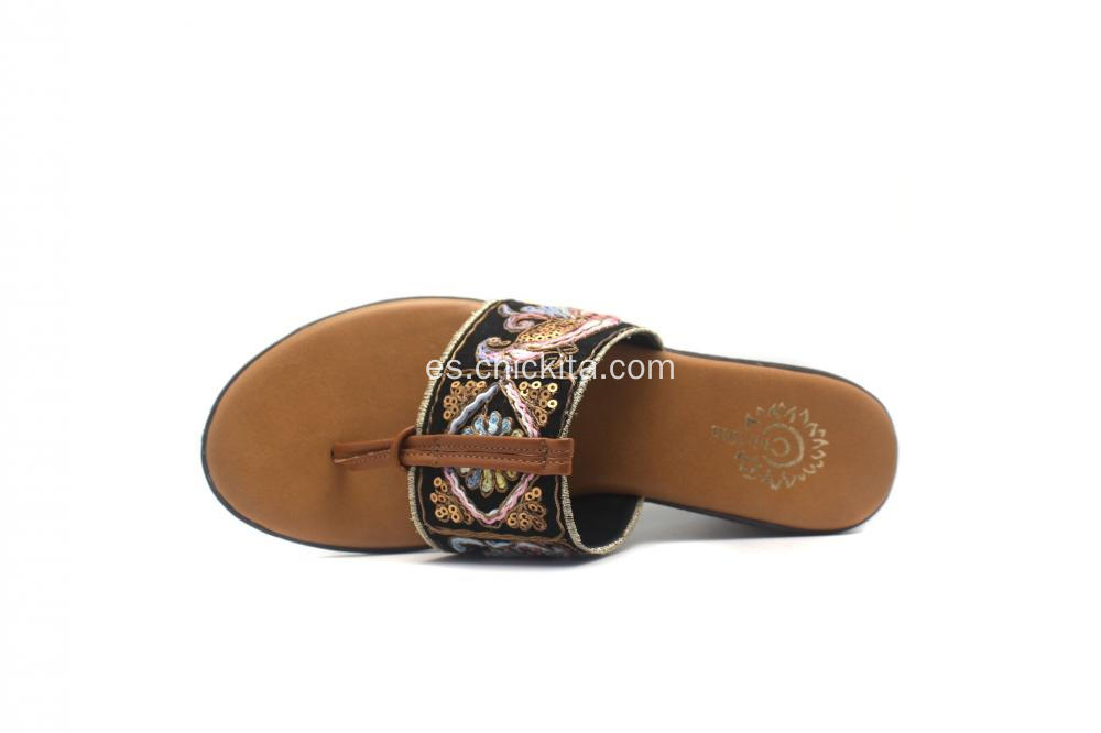 Womens Medias bordado Thong Slide