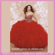 LQ0006 Design padrões com contas superiores espartilho volta longo vestidos de baile quinceanera vestidos formais vestido de quinceanera strapless vermelho