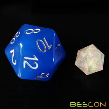 Bescon Jumbo Glowing D20 38MM, Big Size 20 Sides Dice Blue Glow In Dark, Big 20 Faces Cube 1.5 inch