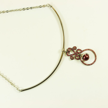 Stainless Steel Necklace with Pearl Pendant