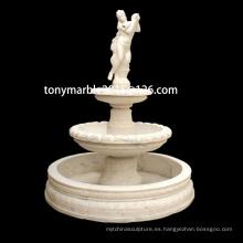 Escultura en mármol beige de la piedra de la fuente de agua (SY-F011)