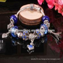 2016 tendencia de los productos de cuentas de cristal azul personalizada pulsera de encanto