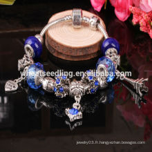 2016 tendances produits bleu verre perles personnalisé charme bracelet