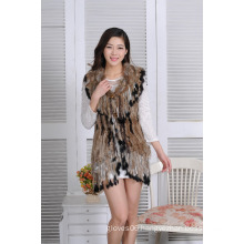 2016 New Fashion Real Rabbit Fur Knitted Jacket Girls Fur Vest