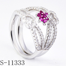 925 Women Silver Pink Zirconia Fashion Ring (S-11333)