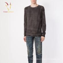 Homens moden tricô em torno do pescoço 100% suéter de lã