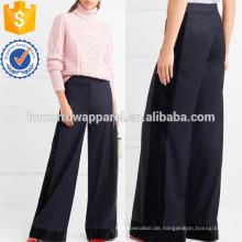 Velvet-getrimmt Wolle Wide-Bein Hosen Herstellung Großhandel Mode Frauen Bekleidung (TA3036P)