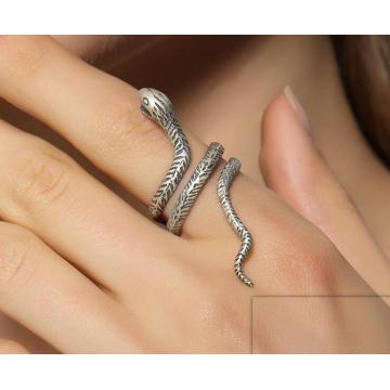 925 Sterling Silber Unisex Ring Schlange Modellierung halb offen