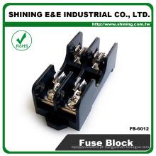FB-6012 Fusível de vidro 6x30mm 600V 15A Suporte de fusível montado no painel de 2 vias