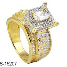 18k banhado a ouro anel de diamante jóias de prata