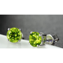 Natural Peridot Round Stud Earrings