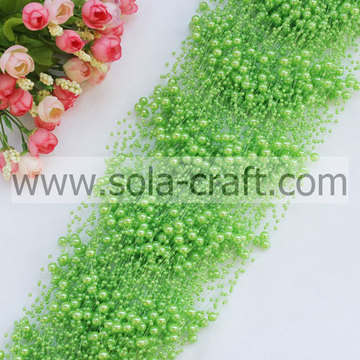 Fashion 3+8MM Dark Fruit Green Wire Pearl Strands Garland