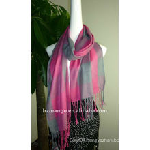 Fashion jaquard check design polyester long scarf