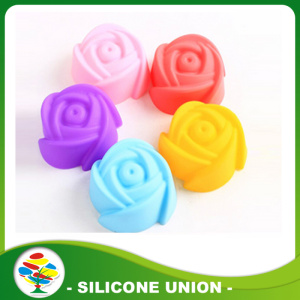Rose shape silicone muffin cups pudding mould
