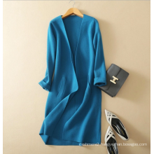 Women's knitwear thick pure cashmere V-neck cardigan coat without buttons soft elegant long cashmere coats for winter
