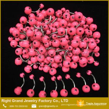 Acier chirurgical 316L Faux Belly Ring étoiles imprimé boules ventre plat nombril anneaux Piercing