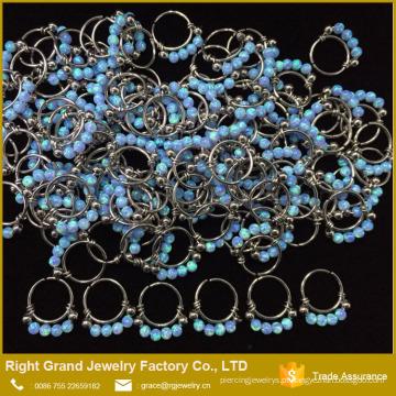 Anéis de nariz de aço cirúrgico do níquel das bolas de Opal dos anéis de nariz do desenhista 316L quatro
