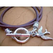 Leather Bracelet, Triple Wrap,Toggle Clasp, Womens Bracelet, Womens Jewelry KSKS-44