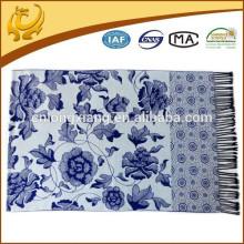 Hijab Viscose Material Hot Sell Branco E Azul Chiese Estilo Lenço Longo Para Senhora