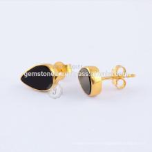 Boucles d'oreilles naturelles en or noir Onyx Stud, plaqué or 925 en argent sterling Gemstone Bezel Earring Jewelry Fabricant