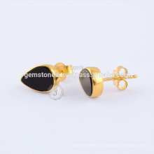 Natural Black Onyx Gemstone Stud Earrings, banhado a ouro 925 Sterling Silver Gemstone Bezel Earring Jewelry Manufacturer