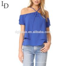 Nuevo diseño de las mujeres con volantes de la camisa del hombro correas de espagueti blusa de las señoras