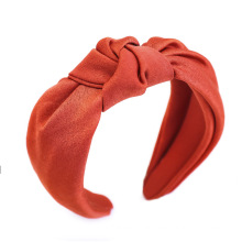Sweet Knotted Headband Wide-bim Hairband Women Girls Hair Pin Accessories Acetate Section Fabric Silk Solid Color Belle Femme