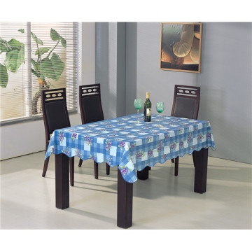 Square Shape PVC Printed Pattern Tablecloth with Backside