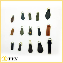 black brown debossed pu leather zipper puller