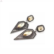 Mode gros triangle géométrique modèle Espagne 925 boucles d'oreilles en argent bijoux