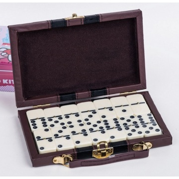 Plastic Melamine Double 9 Dominoes In Leather Box