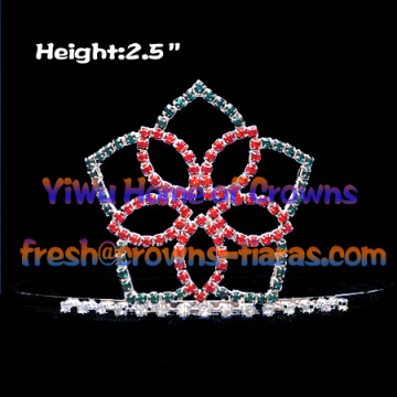 Flower Shaped Crystal Pageant Crowns and Tiaras