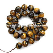 14MM Faceted tigereye round Beads
