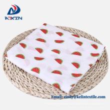 Impressão personalizada cobertor swaddle 100% algodão orgânico musselina bebê swaddle