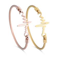 Stainless Steel Gold Bangle Dubai Heartbeat Personalized Couple Bracelet