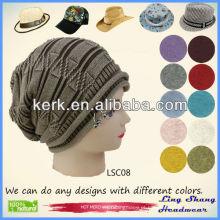LSC08 Ningbo Lingshang 100% chapéu de algodão na moda chapéu de boina de inverno